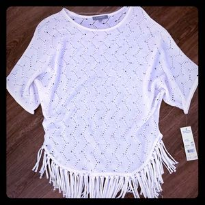 White NY Collection Sweater with Fringe